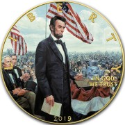 USA ABRAHAM LINCOLN 16th U.S. PRESIDENT GETTYSBURG ADDRESS American Silver Eagle 2019 Walking Liberty $1 Silver coin Gold plated 1 oz